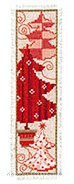 Red Christmas Tree Bookmark Cross Stitch Kit